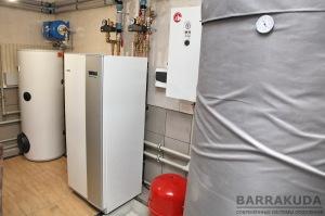 Система отопления на геотермальном тепловом насосе NIBE F1145 12 кВт, c коэффициентом COP – 4,79 ( при 0/35 °С), с максимальной температурой подачи 65 °С от компрессора. Низкий тариф для электроотопления