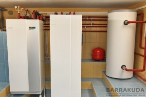 Система опалення на інверторному (змінна потужність), геотермальному тепловому насосі NIBE F1155 16 кВт, c коефіцієнтом COP - 5,12 (при 0/35 ° С), з максимальною температурою подачі 65 ° С від компресора